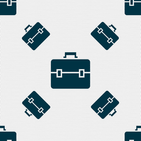 attache: suitcase icon sign. Seamless pattern with geometric texture. illustration