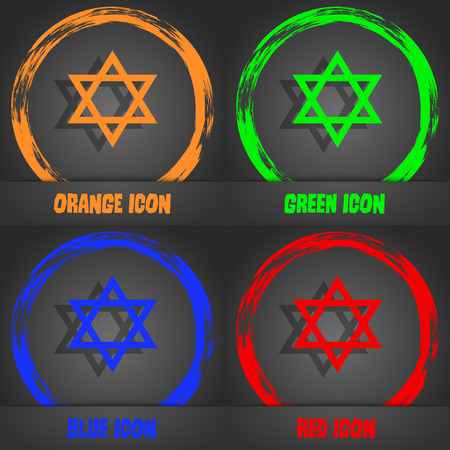 heretic: pentagram icon. Fashionable modern style. In the orange, green, blue, red design. Vector illustration