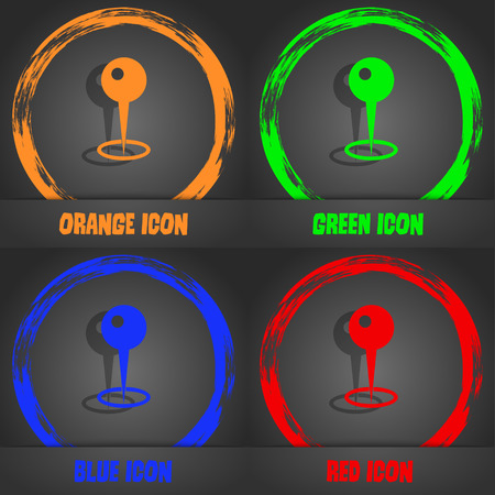 distant: Map pointer icon. Fashionable modern style. In the orange, green, blue, red design. Vector illustration Stock Photo
