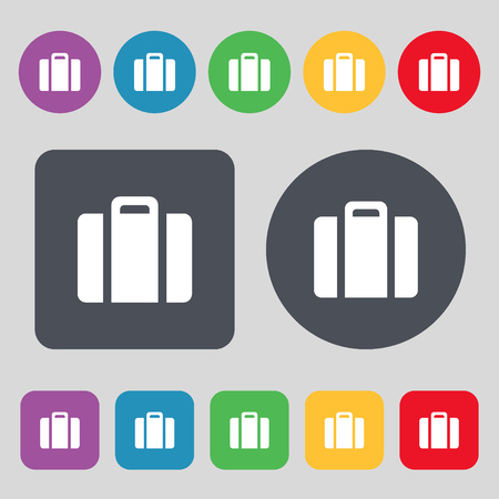 attache: suitcase icon sign. A set of 12 colored buttons. Flat design. illustration