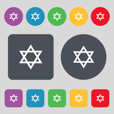 heretic: pentagram icon sign. A set of 12 colored buttons. Flat design. illustration