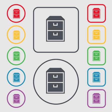 nightstand: nightstand icon sign. symbol on the Round and square buttons with frame. illustration