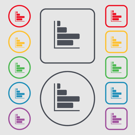 economic forecast: Infographic icon sign. symbol on the Round and square buttons with frame. illustration