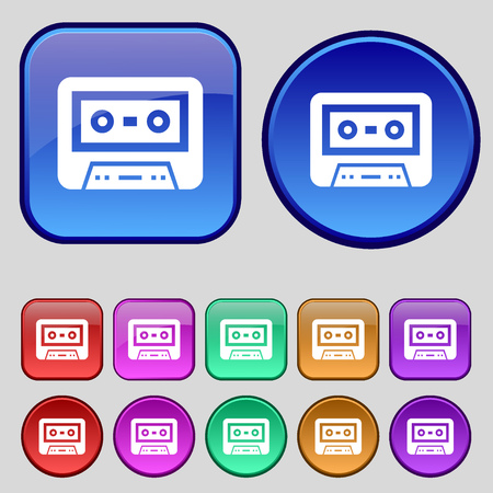 electronic 80s: audiocassette icon sign. A set of twelve vintage buttons for your design. illustration