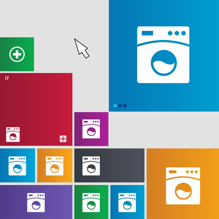 washhouse: Washing machine icon sign. buttons. Modern interface website buttons with cursor pointer. illustration Stock Photo