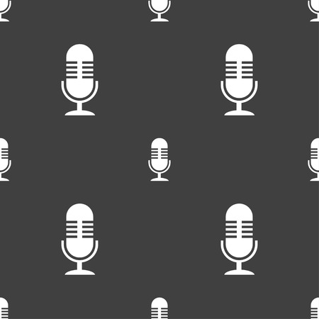 microphone icon sign. Seamless pattern on a gray background. illustration