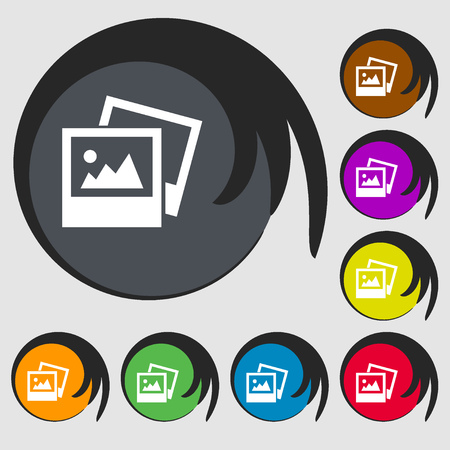 jpg: File JPG icon. Symbols on eight colored buttons. illustration
