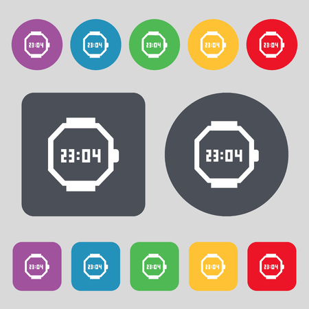 straps: wristwatch icon sign. A set of 12 colored buttons. Flat design. illustration