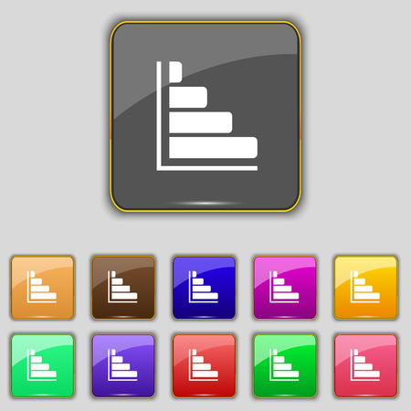 sales trend: Infographic icon sign. Set with eleven colored buttons for your site. illustration Stock Photo