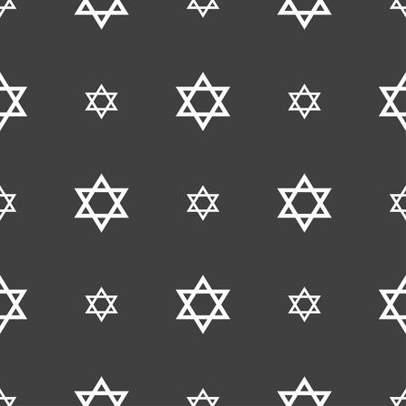 blasphemy: pentagram icon sign. Seamless pattern on a gray background. illustration Stock Photo
