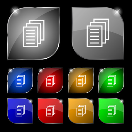 duplicate: Copy file, Duplicate document icon sign. Set of ten colorful buttons with glare. illustration