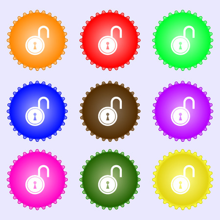 secret code: open lock icon sign. A set of nine different colored labels. illustration Stock Photo