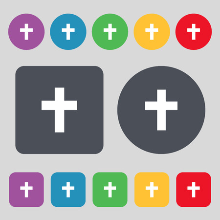 protection of the bible: religious cross, Christian icon sign. A set of 12 colored buttons. Flat design. illustration Stock Photo