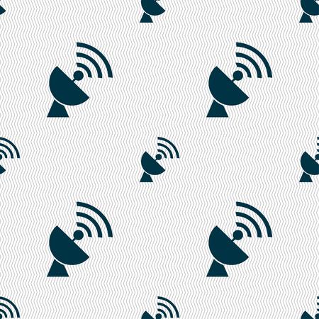 telecommunications: Satellite antenna icon sign. Seamless pattern with geometric texture. illustration