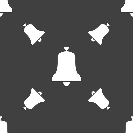 emergency attention: Alarm bell icon sign. Seamless pattern on a gray background. illustration