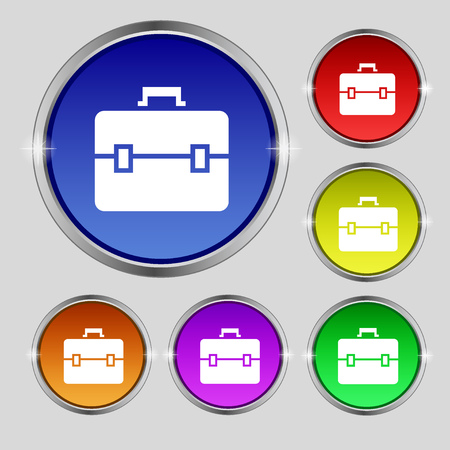attache: suitcase icon sign. Round symbol on bright colourful buttons. illustration
