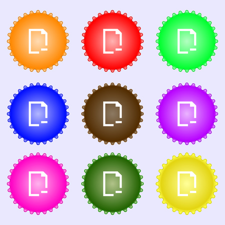 archive site: Remove Folder icon sign. A set of nine different colored labels. illustration
