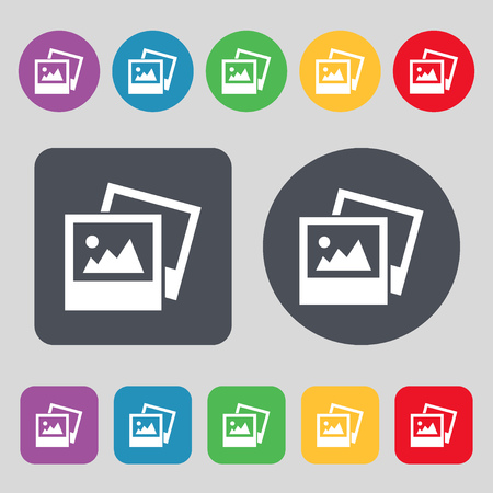 jpg: File JPG icon sign. A set of 12 colored buttons. Flat design. illustration