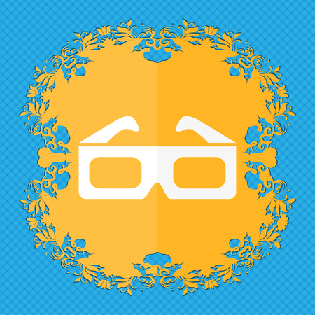 imagery: 3d glasses icon. Floral flat design on a blue abstract background with place for your text. illustration Stock Photo