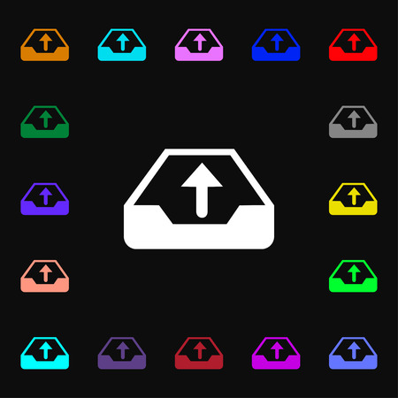 data archiving: Backup icon sign. Lots of colorful symbols for your design. illustration Stock Photo