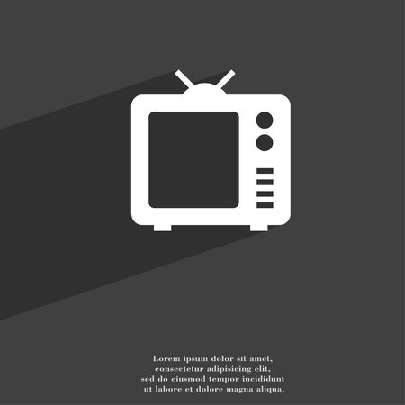 space television: Old TV, Television symbol Flat modern web design with long shadow and space for your text. illustration Stock Photo