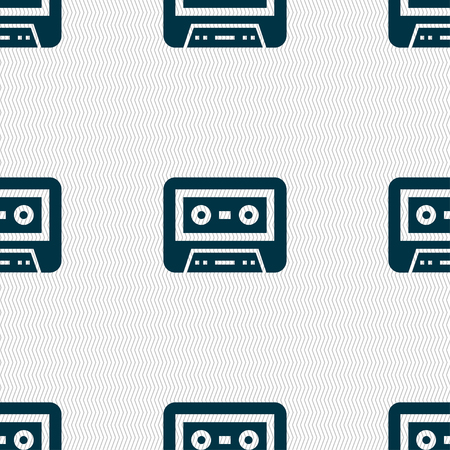 electronic 80s: audiocassette icon sign. Seamless pattern with geometric texture. illustration
