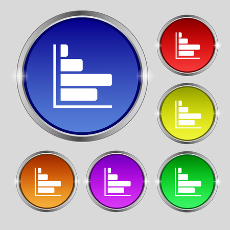 economic forecast: Infographic icon sign. Round symbol on bright colourful buttons. illustration