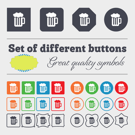 binge: Glass of beer with foam icon sign. Big set of colorful, diverse, high-quality buttons. illustration