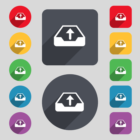 protected database: Backup icon sign. A set of 12 colored buttons and a long shadow. Flat design. illustration Stock Photo