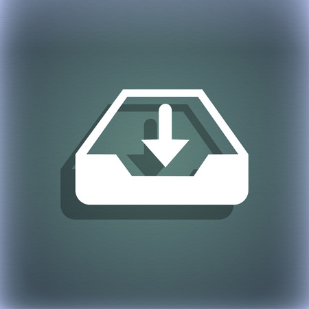 secure backup: Restore icon. On the blue-green abstract background with shadow and space for your text. illustration
