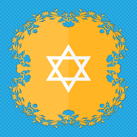 blasphemy: pentagram icon. Floral flat design on a blue abstract background with place for your text. illustration