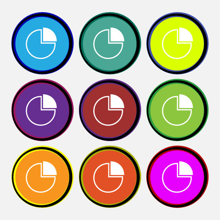 economic forecast: Infographic icon sign. Nine multi colored round buttons. illustration