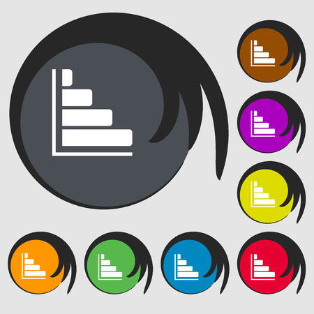 sales trend: Infographic icon. Symbols on eight colored buttons. illustration Stock Photo