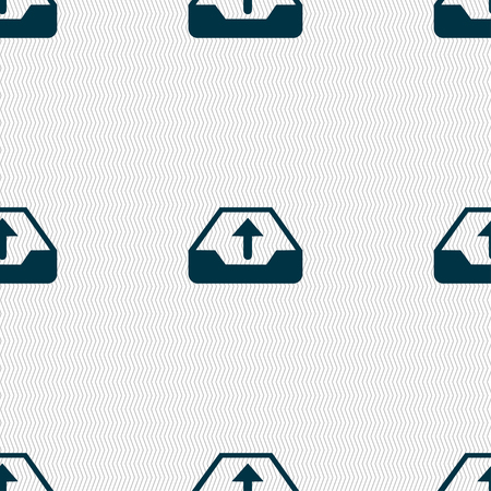 secure backup: Backup icon sign. Seamless pattern with geometric texture. illustration Stock Photo