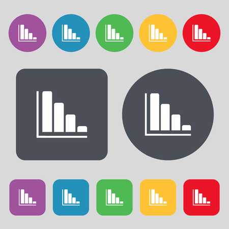 sales trend: Infographic icon sign. A set of 12 colored buttons. Flat design. illustration