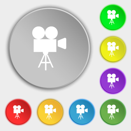multimedia pictogram: Video camera icon sign. Symbol on eight flat buttons. illustration