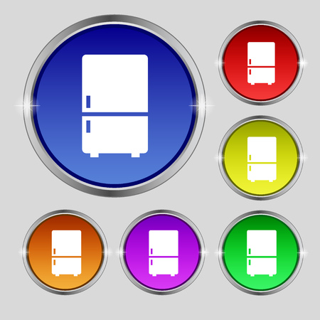 Refrigerator icon sign. Round symbol on bright colourful buttons. illustration Stock Photo