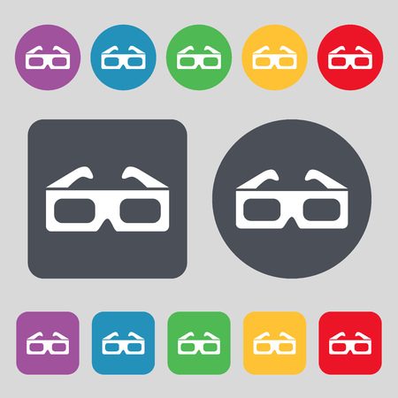 stereoscope: 3d glasses icon sign. A set of 12 colored buttons. Flat design. illustration Stock Photo