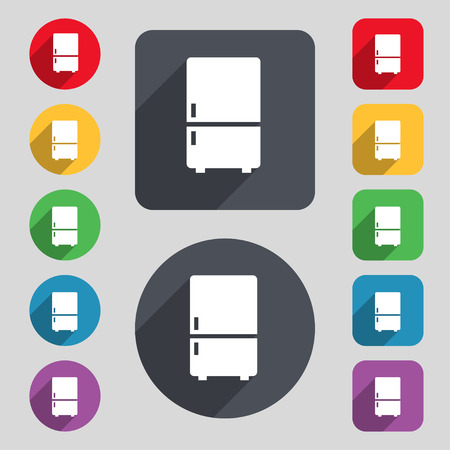 coolness: Refrigerator icon sign. A set of 12 colored buttons and a long shadow. Flat design. illustration Stock Photo