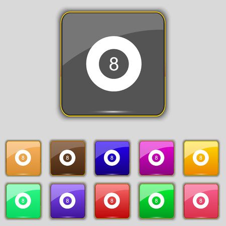 Eightball, Billiards icon sign. Set with eleven colored buttons for your site. illustration