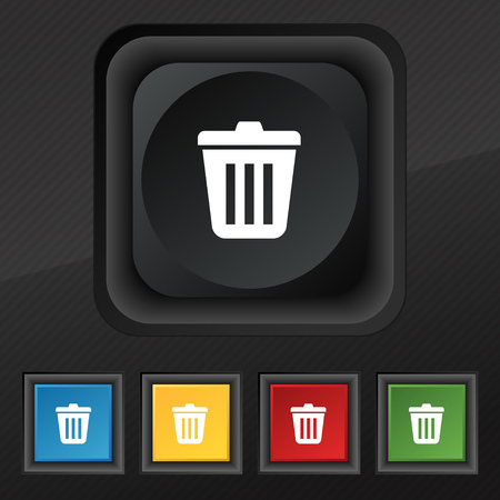 sewage: Bin icon symbol. Set of five colorful, stylish buttons on black texture for your design. illustration
