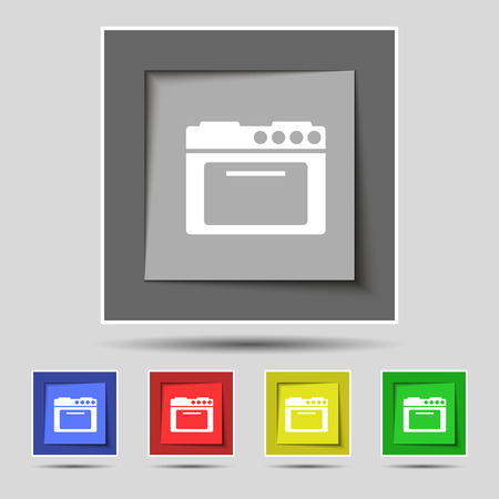 kitchen stove: kitchen stove icon sign on original five colored buttons. illustration