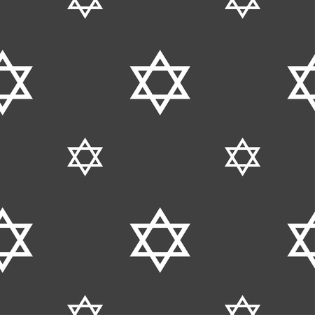 heretic: pentagram icon sign. Seamless pattern on a gray background. illustration Stock Photo