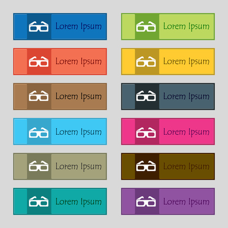 stereoscope: 3d glasses icon sign. Set of twelve rectangular, colorful, beautiful, high-quality buttons for the site. illustration Stock Photo