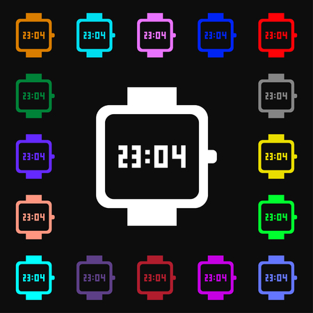 straps: wristwatch icon sign. Lots of colorful symbols for your design. illustration