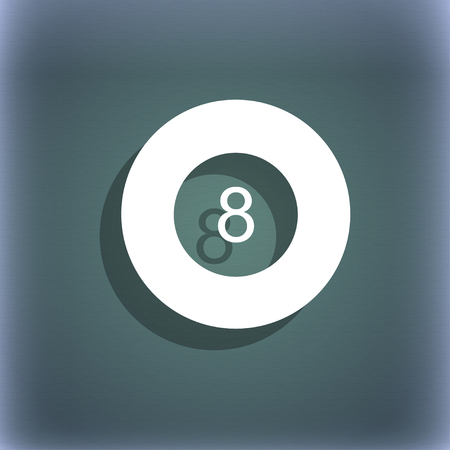 eightball: Eightball, Billiards icon. On the blue-green abstract background with shadow and space for your text. illustration