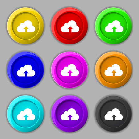 archiving: Backup icon sign. symbol on nine round colourful buttons. illustration