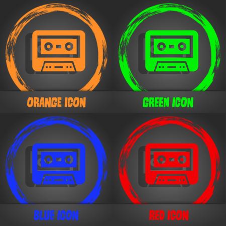 electronic 80s: audiocassette icon. Fashionable modern style. In the orange, green, blue, red design. illustration