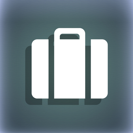 bluegreen: suitcase icon. On the blue-green abstract background with shadow and space for your text. illustration