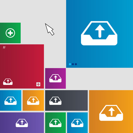 archiving: Backup icon sign. buttons. Modern interface website buttons with cursor pointer. illustration
